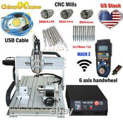 2200W CNC 6040 4Axis Router Mach3 USB Engraving Cutting/Milling Machine US Stock