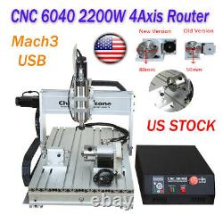 2.2KW 4-Axis CNC 6040 Router Mach3 USB Engraving Cutting Drilling DIY Machine US