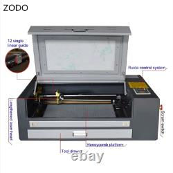 4060 60W CO2 Laser Engraving Cutting Machine On The Desk With RUIDA By Express