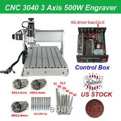 CNC 3040 Router 3-Axis Acrylic Engraving Milling Cutting Machine 500W Engraver