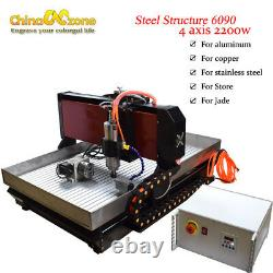 Steel CNC Router 6090 4axis 2200W Mach3 Engraver Cutting Machine For Metal Brass